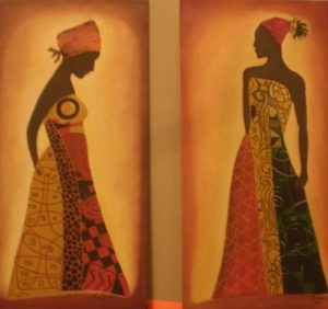 African Diptych – J. Darden 10×20 Oil on Canvas Panel