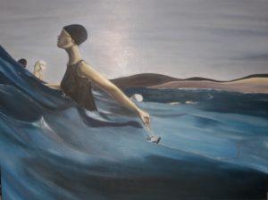 Beachgoers – J. Darden 30×36 Oil on Canvas Panel