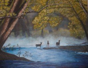 Deer / Mist – J. Darden 16 x 20 Oil on Canvas Panel