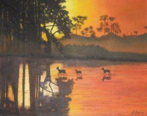 Deer / Sunset – J. Darden 16 x 20 Oil on Canvas Panel