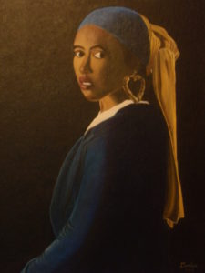 Girl with a Bamboo Earring – J. Darden 24 x 18 Oil on Canvas Panel