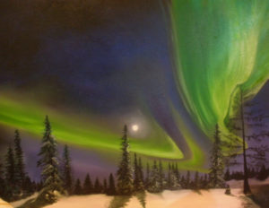 Winter Aurora – J. Darden 24 x 18 Oil on Canvas Panel