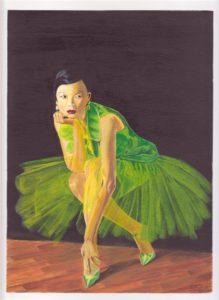 Woman in Green – J. Darden 11 x 9 Acrylic on Paper